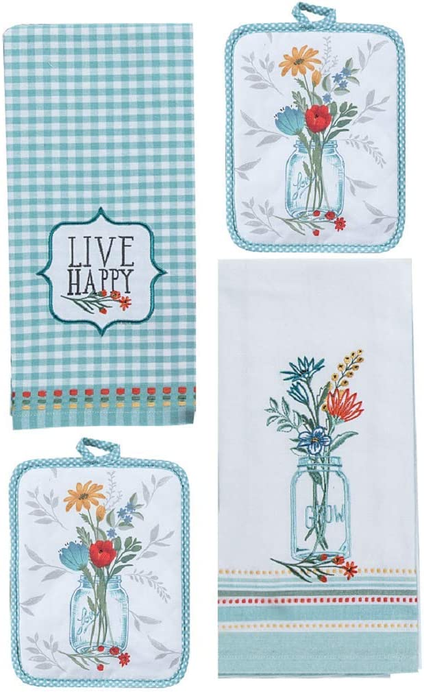 Kay Dee Designs 4 Piece Blooming Thoughts Kitchen Bundle - 1 Applique Tea Towel, 1 Embroidered Tea Towel and 2 Potholders