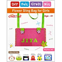 Crazy Craft Flower Personalised Sling Bag for Kids/Girls DIY Felt Craft Kit | Learning Activity Kit | Stiching kit
