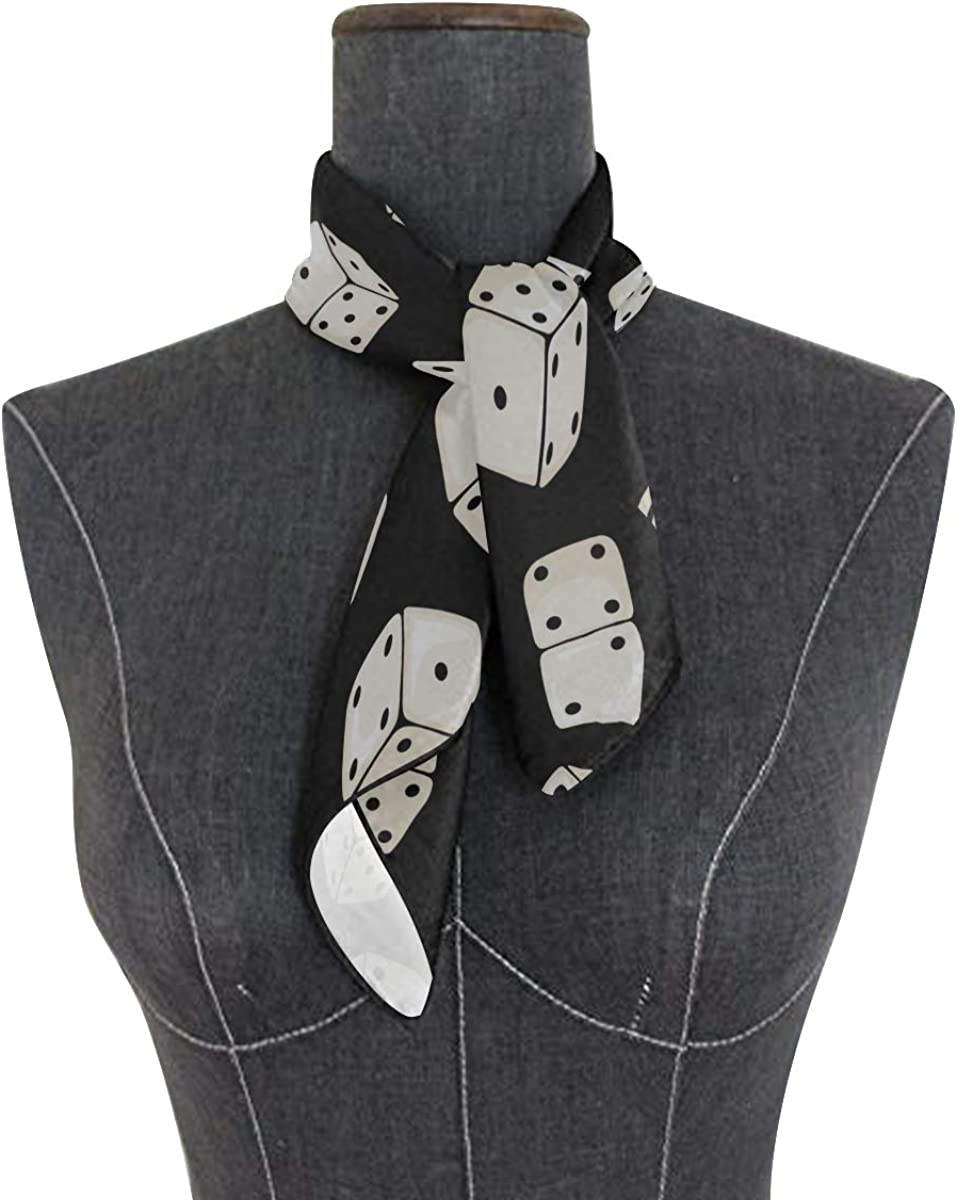 Soft Polyester Silk Head Scarf Tie Fashion Print Top View Of White Dice Hair Bandana Scarf Hair Neck Scarf Turban Scarf Multiple Ways Of Wearing Daily Decor