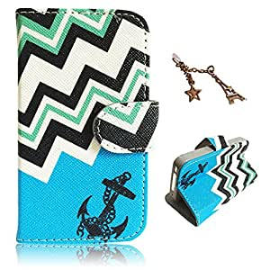 Uming® Pattern Print PU case for Samsung Galaxy Core I8262 i8260 Waves Blue Black Anchors Colorful Printing Drawing Patterns Flip Holster with Stand Stander Holder Hand Free Credit Card Slot Hole Hasp Magnet Magnetic Button Buckle Shell Protective Mobile Cell Phone Case Cover Bag + 1 x Anti Dust Plug - Blue Anchors