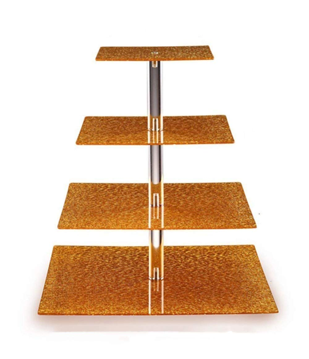 Sumerflos 2018 New Style 4 Tiers Golden Square Acrylic Cupcake Stand Cupcake Tower With Acrylic Bubble Rod - Special Stacked Party Cupcake Tree - Tiered Cake Tower for Wedding,Happy Birthday,Parties