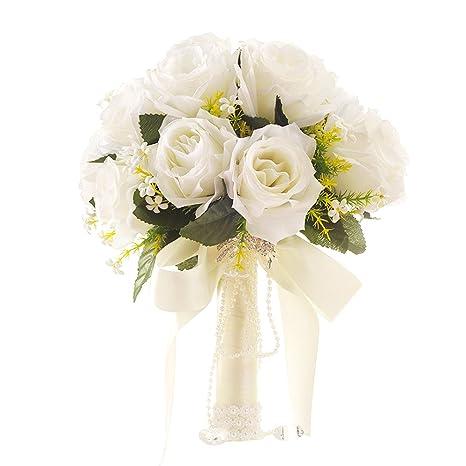 Immagini Bouquet Da Sposa.Yansion Bouquet Da Sposa Bouquet Da Sposa Coreano Stile Bianco Artificiale Finto Fiore Rosa Tenuta Da Sposa Fiori Con Strass