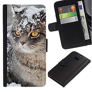 Snow Winter Manx Cat American Curl - la tarjeta de Crédito Slots PU Funda de cuero Monedero caso cubierta de piel HTC One M8