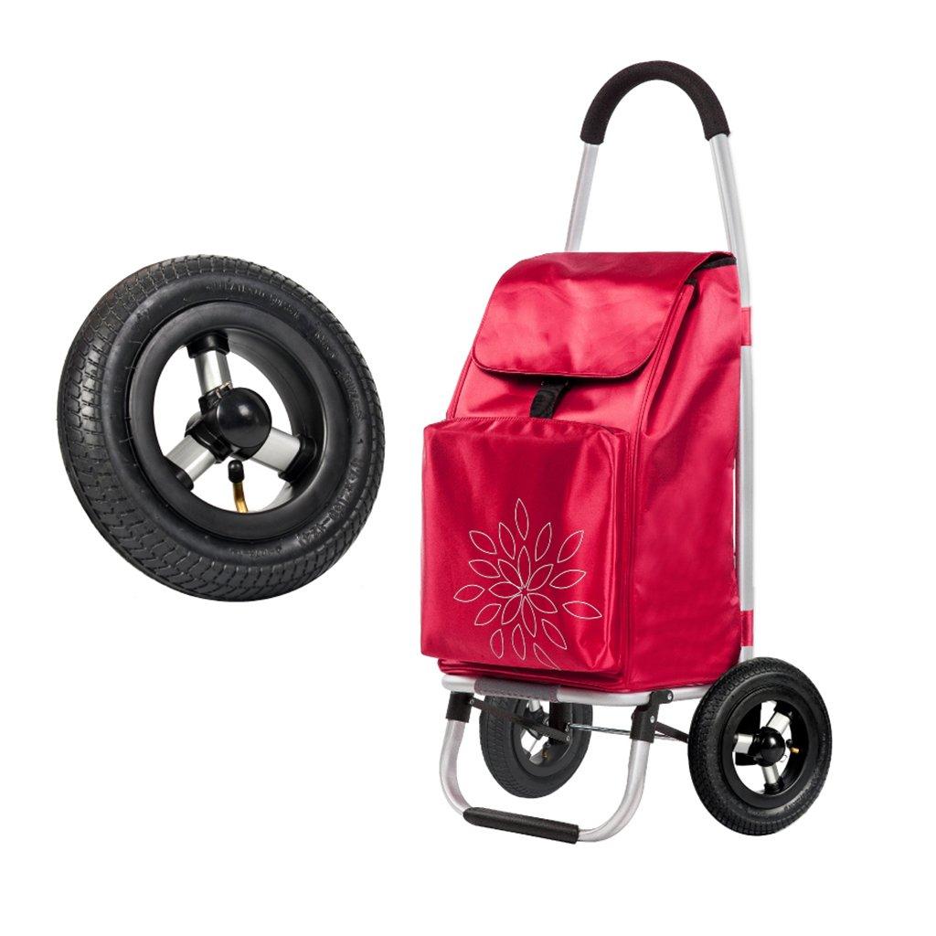 KTYX ショッピングカート階段折り畳みポータブルショッピングカート小型カート古いトロリー車手荷物トレーラー トロリー (色 : Red)  Red B07H31PYGH