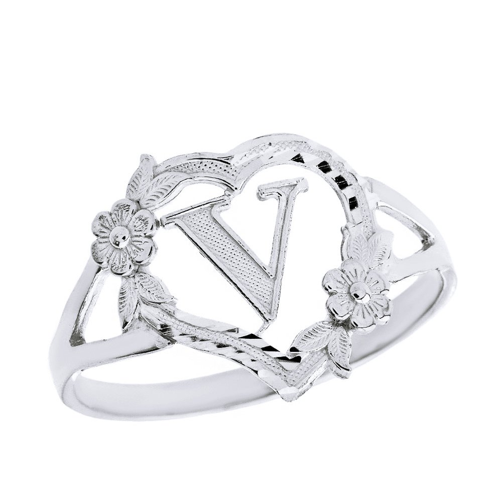 CaliRoseJewelry Sterling Silver Initial Alphabet Heart Personalized Ring (Size 9) - Letter V
