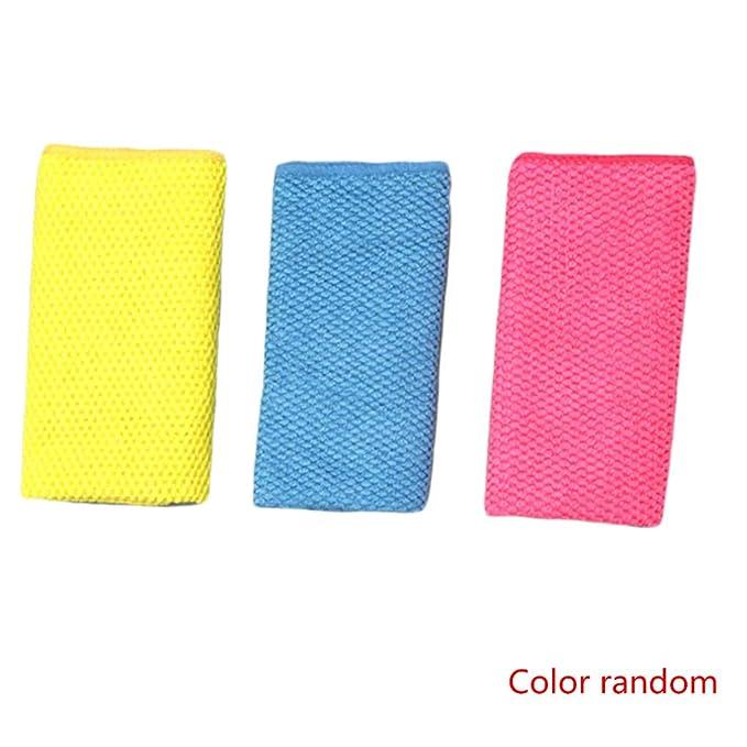 Dpolrs Toalla 3PCS Color al Azar Espesar Cocina Tazón de Microfibra paño de Limpieza del hogar Tabla de Cristal de Tela Lavada: Amazon.es: Hogar
