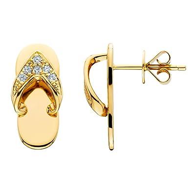 48d281b0fd90c Amazon.com  Amoro 14k Yellow Gold Diamond Sandal Earrings (0.1 cttw ...