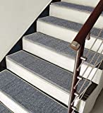 ZENGAI with Edge Protection Carpet Stair Treads Runner Rug Pad (Set of 7) Pure Color Self-Priming Bottom Super Anti-Slip Stepping Mat, Size 5 (Color : 9#, Size : 65x(24+3) cm)