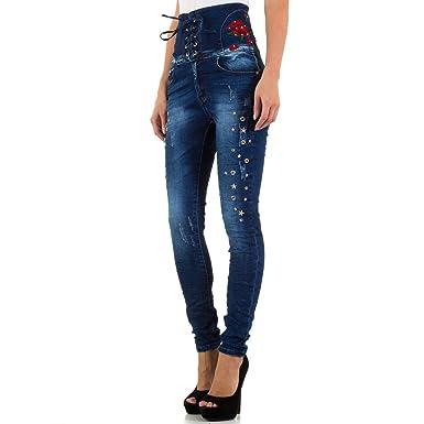 88e260216238 Schuhcity24 Damen Jeans Hose Jeanshose Bestickte High Waist Skinny Blau  XS 34  Amazon.de  Bekleidung