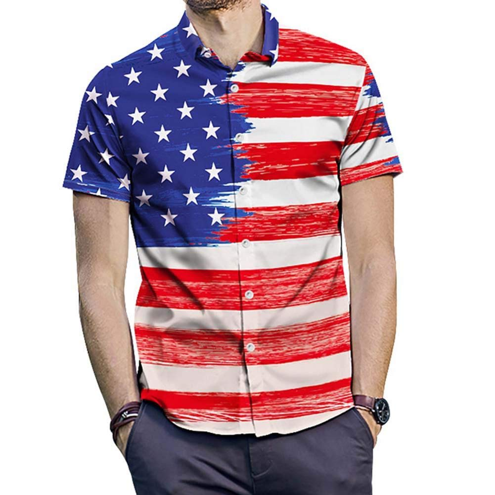 Duevin Mens Star Stripe Print Large Size Short Sleeve Lapel Shirt