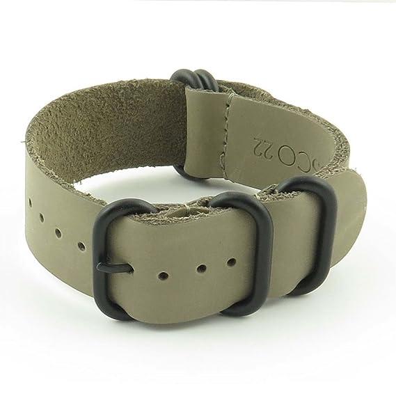 Correa de cuero, 24 mm, color gris, para reloj Nato G10 y Zulu, con hebilla en negro mate, de StrapsCo: Amazon.es: Relojes