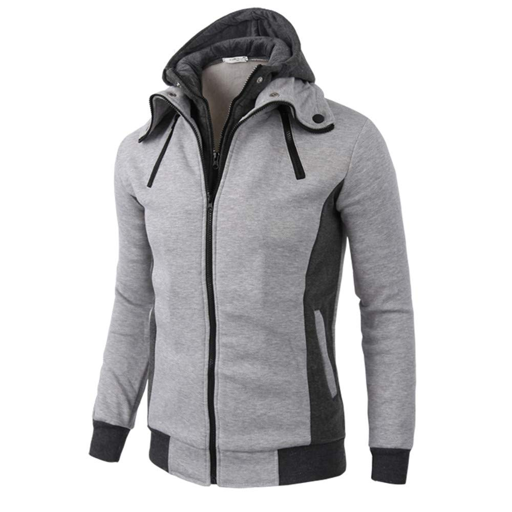 PASATO Clearance! Men's Warm Casual Zipper Long Sleeve Hooded Coat Top Blouse Jacket Autumn Winter Classic Clothes L)