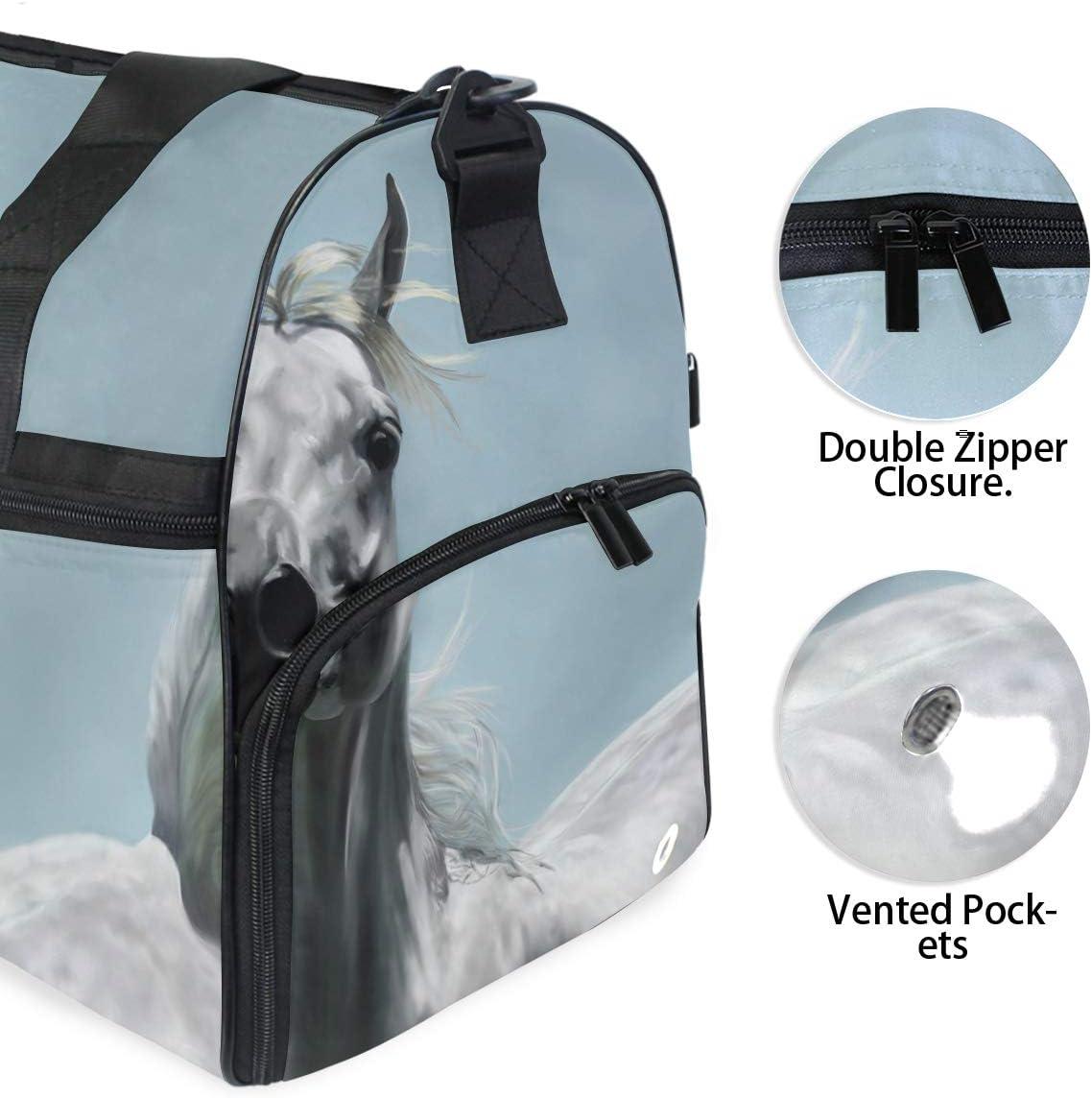 MALPLENA Arabian Horse Art Painting Packable Duffle Bag For Men Women Tear Resistant Sports Duffle