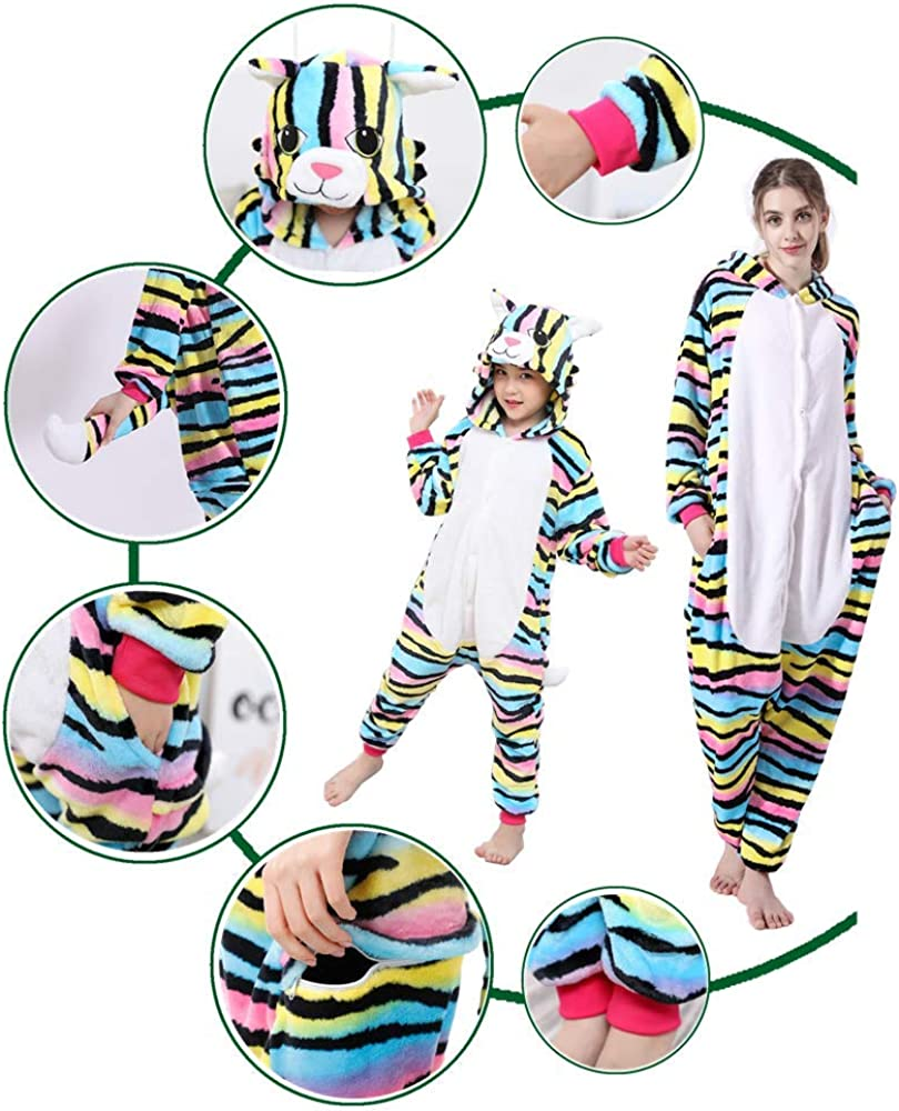 Kids Animal Color Cat Onesies Pajamas Cute Cosplay Halloween Xmas Costume Winter Girls Hooded Sleepwear 2-14Years