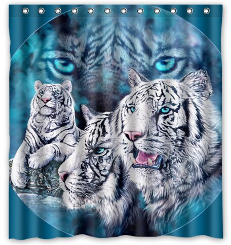 Bengal Tiger Blue Eyed Royal White Waterproof Bathroom Shower Curtain (66