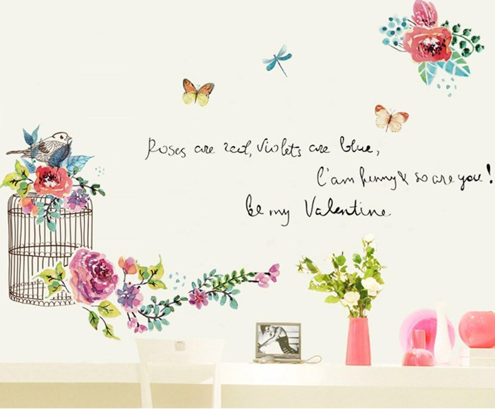 Amazon Takarafune ウォールステッカー 花 壁紙シール ガーデン 鳥 剥がせる 壁紙 部屋飾り ウォールステッカー 防水 おしゃれ ウォールステッカー オンライン通販