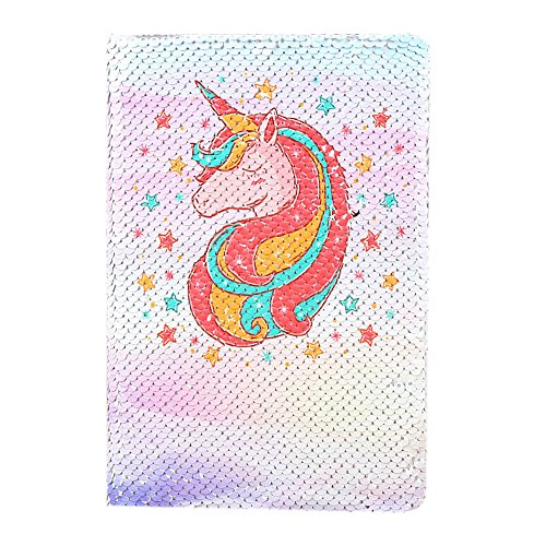 FIGHTA Magic Sequin Journal Reversible Sequin Cartoon Notebook Cute Mermaid Notepad School Diary for Girls Adults Festival Birthday Valentine's Day Gifts (Unicorn 2) by FIGHTA