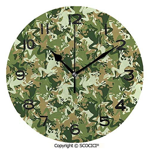 Frameless Clock 3D DIY Decorative Clock Skull Camouflage Military Design With Various Frog Pattern Different Tones Artprint 10 Inch Large Size Round Wall Clock for Living Room Bedroom Office -