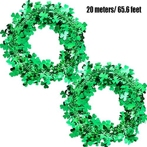 Shamrocks Wire Garland St. Patrick's Day Garland Green Holiday Wreaths Irish Party Decorations (65.6 ft/ 20 Meters) (Patricks Day Garland)