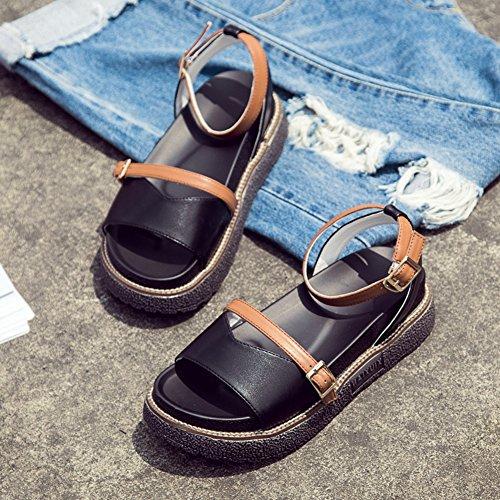 Sandalo Flat Ciabattante Per Donna Casual Scarpe A Punta Aperte Nere