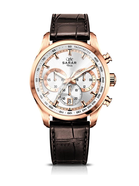 SARAR-TIME RosÉ Chronograph SR-1129 Echtleder