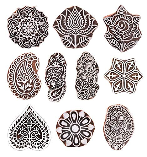 Hashcart Hand-Carved Wooden Baren | Motif Printing Block for Artistic Design On Saree Border | Painting | Ink Printing Blocks