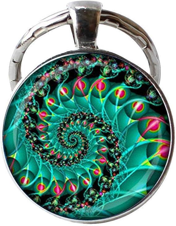 Fractal - Llavero en espiral con diseño de geometría sagrada en espiral, joyería de fibonacci: Amazon.es: Juguetes y juegos