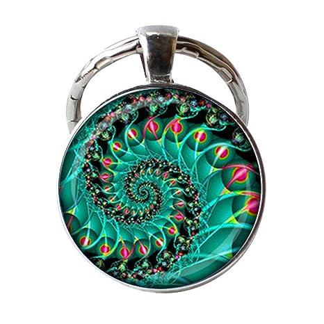 Fractal - Llavero en espiral con diseño de geometría sagrada en ...