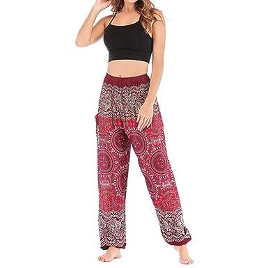 QIYUN.Z Mujeres Brújula Patrón Elástica Cintura Harem Yoga ...