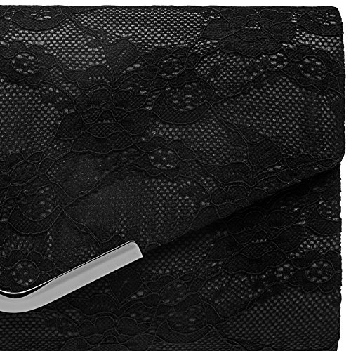CASPAR Bag Black Elegant Clip Evening TA429 Clutch Ladies and Metal with Lace Envelope B7WxrRBq