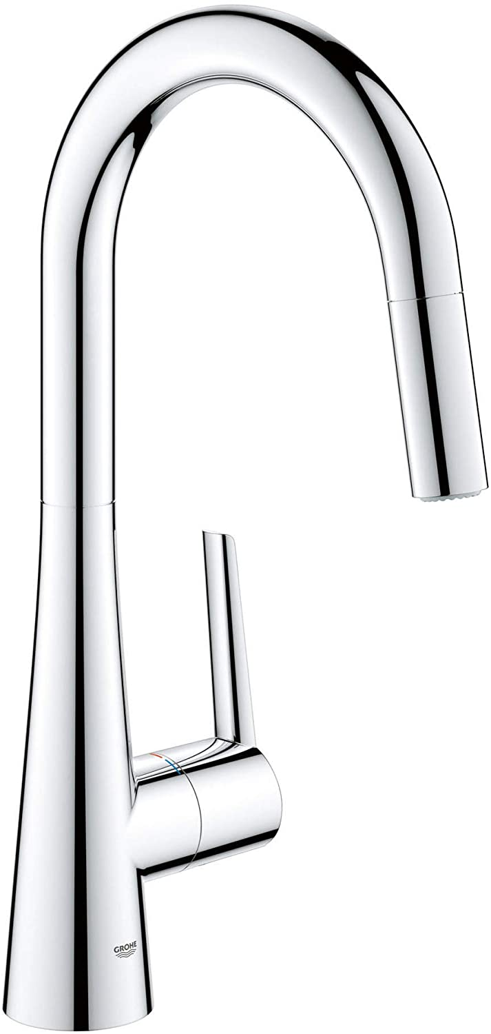 Grohe 32226003 Ladylux L2 Single Handle Pull Down Dual Spray Kitchen Faucet In Starlight Chrome Amazon Com