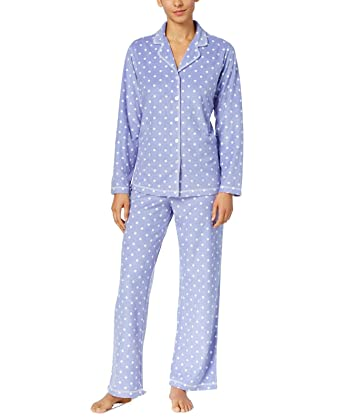 7ac39cecd39f Charter Club Printed Fleece Pajama Set Women's at Amazon Women's Clothing  store:
