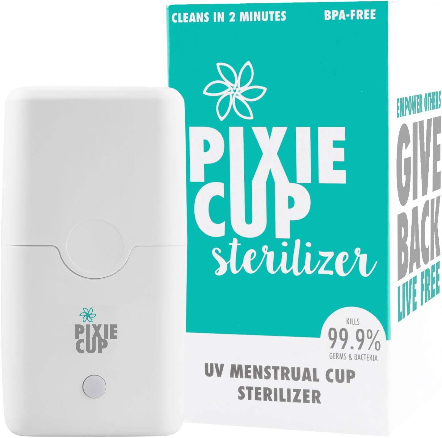 Esterilizador UV de copa menstrual Pixie – mata el 99,9% de los gérmenes con luz LED UV-C (sin olor) – 2 minutos y tu taza de período es estéril.