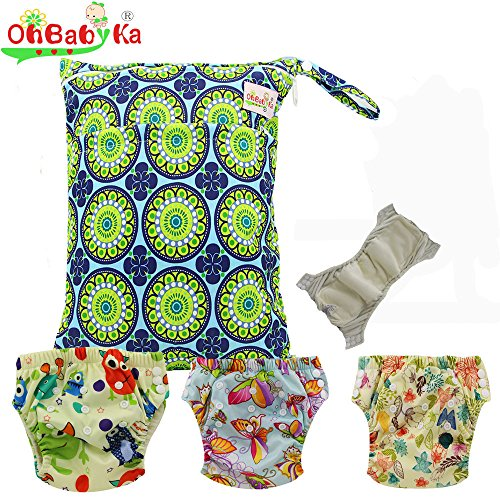 Baby Waterproof Reuseable Cloth Training Diapers 3pcs, A Wet and Dry Bag by Ohbabyka by OHBABYKA