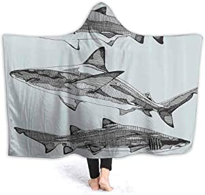 Animal Decor Hooded Baby Blanket Little Kids Size Sealife Big Fierce Dangerous Fish Shark Jaws Tails Sketchy Artistic Image for Adult and Kids 50 x 40 Inch Turquoise Black