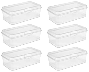 Sterilite 18058606 Large Flip Top, Clear, 6-Pack