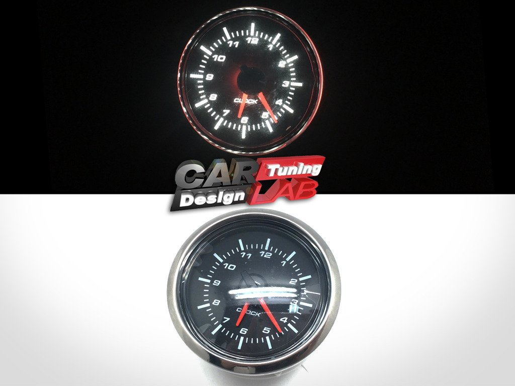 (1) 52mm Clock Time Car Auto Yacht Gauge Meter White LED / Clear Lens 12V Waterproof CAR LAB