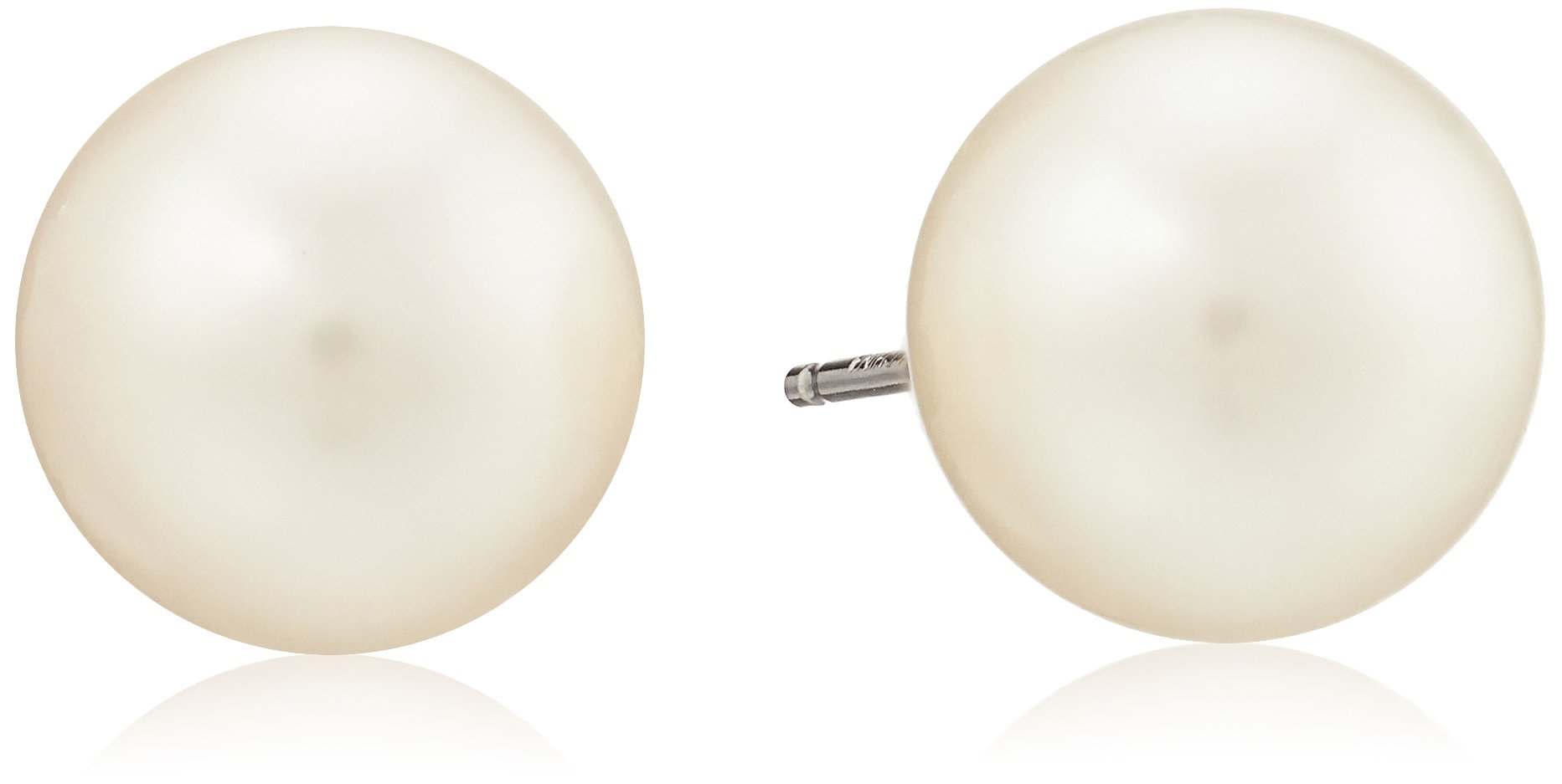 14k White Gold White Freshwater Cultured AA Quality 9mm-10mm Pearl Stud Earrings