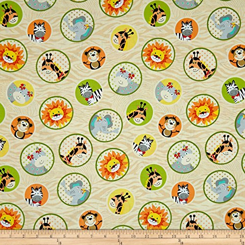 Animal Print Glass (Henry Glass & Company Bungle Jungle Animal Faces In Circles Cream Fabric By The Yard)