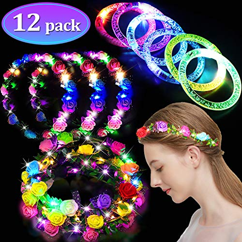 12 Pack Party Favors for Adults Kids, LED Flower Crowns LED Bracelet Glow in the Dark Party Supplies Birthday Party Pack Light Up Toys Flashing Party Headwear Wreath -