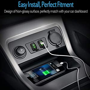 MNJ Motor Universal Rocker Style Car USB Charger, with Blue LED Light Dual USB Power Socket for Rocker Switch Panel (Color: BLUE)
