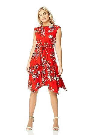 énorme réduction 64be3 2a172 Roman Originals Robe Femme Rouge Asymétrique Motif Floral ...