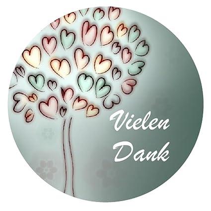 24 Vielen Dank Aufkleber Sticker Zum Danke Sagen Ideal Für Geburtstag Hochzeit Weihnachten 38 X 38 Cm Herz