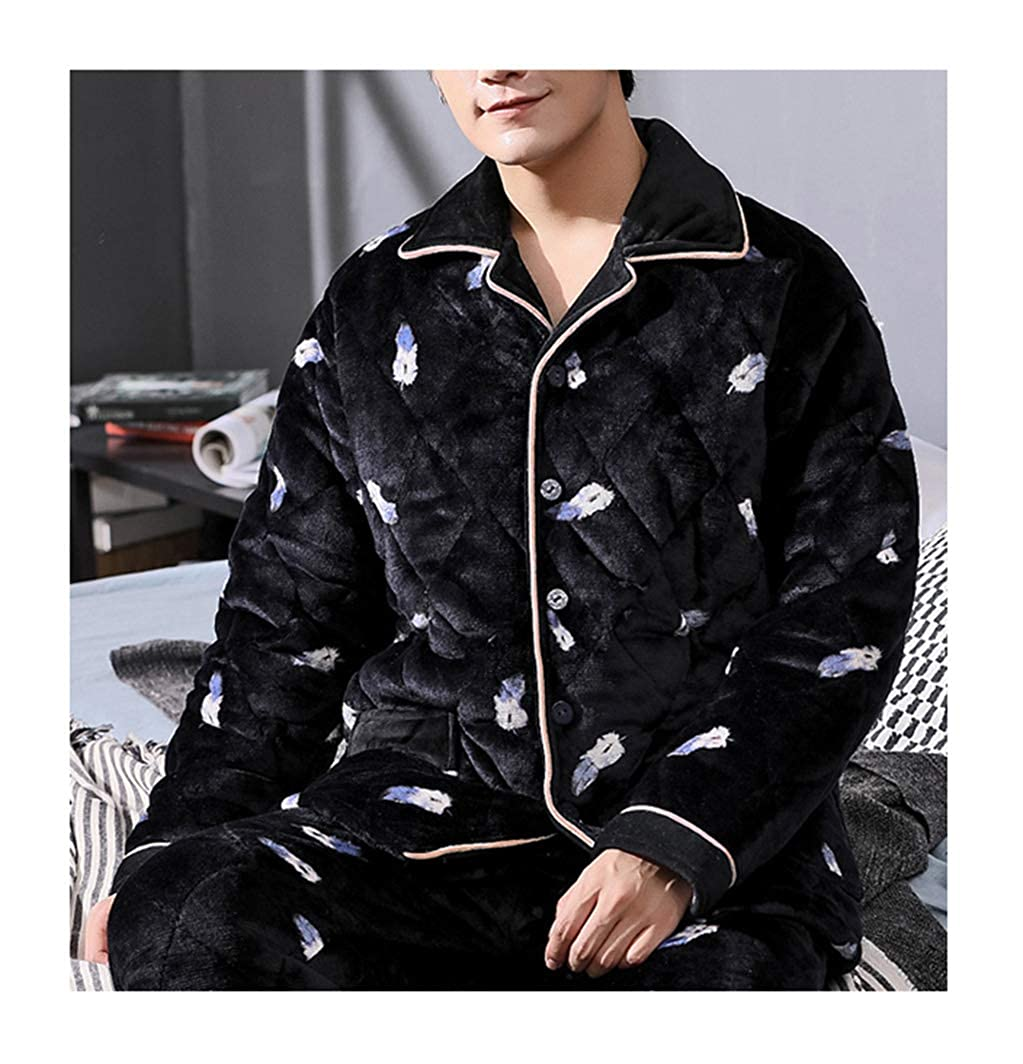 Femaroly Men s Autumn and Winter Pajamas 2 Piece Set Three-Layer Quilted  Padded Velvet Flannel Loungewear Nightwear at Amazon Men s Clothing store  8eba45dd7