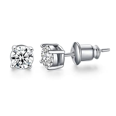 49035200d Amazon.com: UMODE 18K White Gold Plated Jewelry Solitaire 0.5 Carat Round  Cubic Zirconia CZ Diamond Stud Earrings 5mm: Jewelry