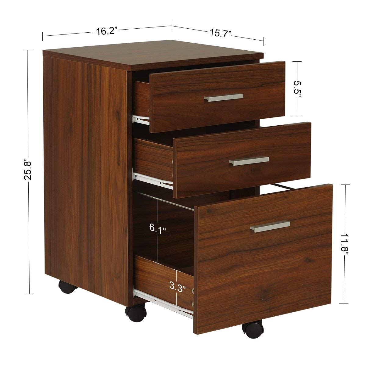 Amazon Com Devaise 3 Drawer Wood Mobile Filing Cabinet Small File Cabinets For Home Office Letter Size A4 Walnut Office Products