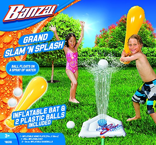 BANZAI Grand Slam N Splash ( Includes Inflatable Bat Home Plate and Two 2 Balls - Spring Summer Water Sports Splash Spray Baseball Game Backyard Fun Play Toy)