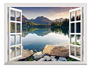 "wall26 Self-Adhesive Wallpaper Large Wall Mural Series (36""x48"", Peaceful Lake)"