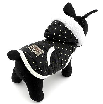 Pegasus Pet Ropa para Cachorro Perro Pequeño gato disfraz de perchero de pared de chaleco con forro polar de invierno con capucha para ropa negro