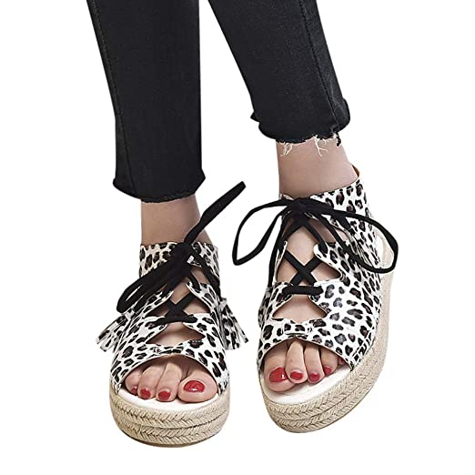 0dd38339be1d Amazon.com  Amlaiworld Women Flat Bottom Shoes Summer Lace-Up Tassel Leopard  Open Toe Breathable Sandals Rome Shoes Gladiator Sandals Brown  Clothing